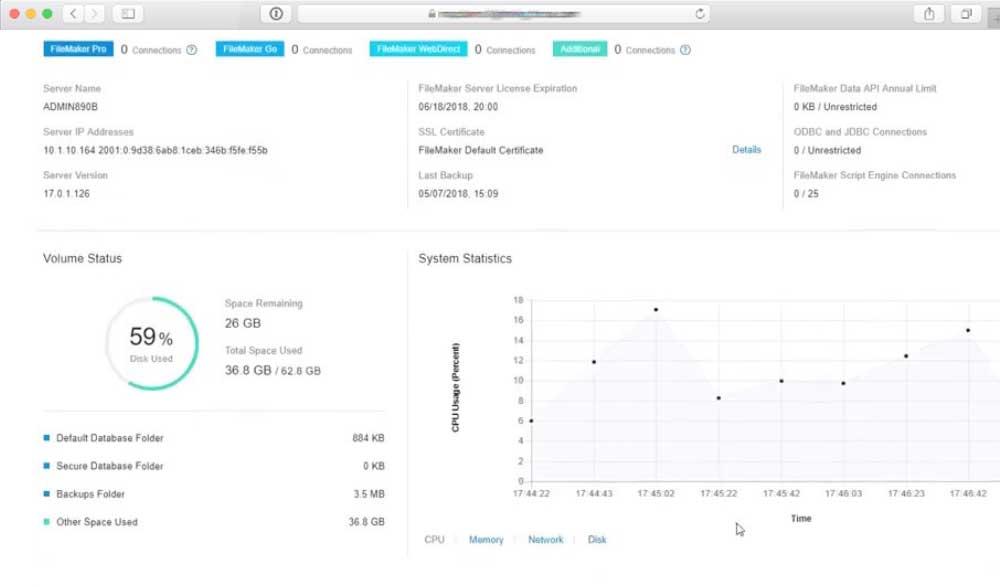 screenshot Filemaker server